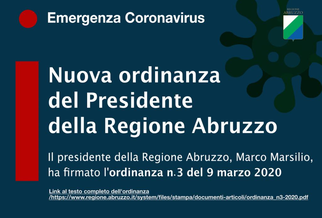 infografica ordinanza n.3 regione abruzzo per definire italia zona